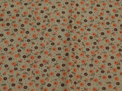 Vintage Cotton Fabric, Beige With Tiny Orange & Brown Daisies Allover, 1 1/3 Yd