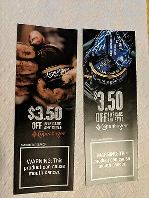 Copenhagen Chewing Tobacco 2x $3.50 Coupons Chew Tin Can Any Style Exp 8/10/2019