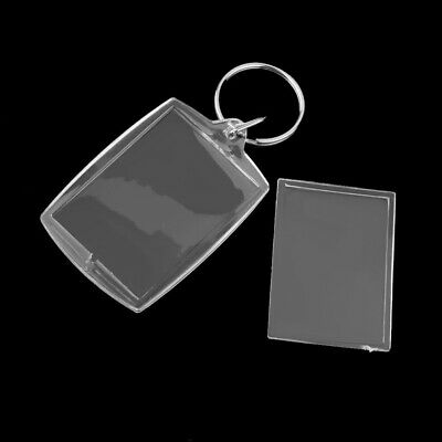 100pcs DIY Keychains Key Holders Transparent Photo Picture Frame Key Rings