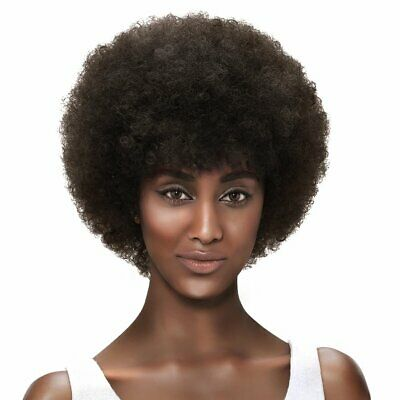 """Afro 5"""" Short Fluffy Tight Curls Wigs with 100 Brazilia Human Hair #2 DARK BROWN"""