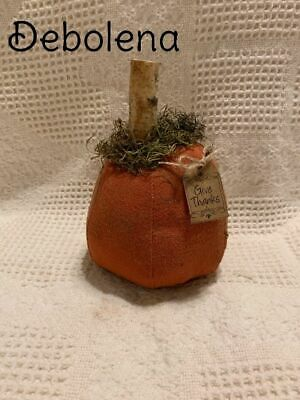 Chunky Primitive Grungy Cinnamon Pumpkin Shelf Sitter Tag: Give Thanks