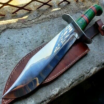 """15"""" Full Tang Fixed Blade Hunting Bowie Knife Wood Handle W Real Leather Sheatht"""