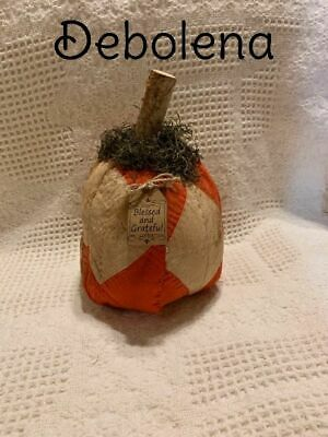 Chunky Primitive Antique Quilt Grungy Cinnamon Pumpkin Tag: Blessed & Grateful