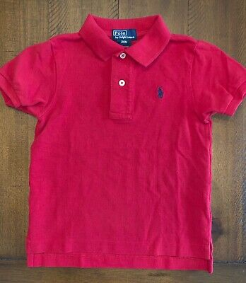 Ralph Lauren Baby Boys Red Polo Shirt Size 24M Excellent Cond Ld5