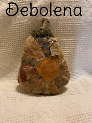 Primitive Antique Quilt Grungy Cinnamon Pumpkin In Everything Give Thanks