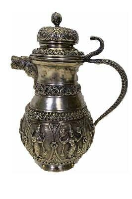 Impressive Antique Thi/Burmese Sterling Silver Repousse Tea pot Cobra Handle.