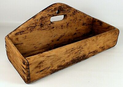 "15.5"" Primitive Antique 1908 Wooden Pine Wood Caddy Tote Knife Tray Tool Box"