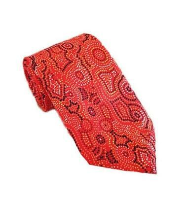Aboriginal Dot Painting Red Orange Polyester Necktie - Men's