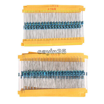 400/600PCS 30 Values 1/4W 1% Metal Film Resistors Resistance Assortment Kit UK