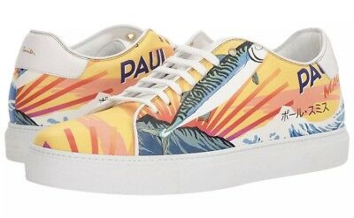 """$450 Paul Smith """"Basso"""" Mackerel-print leather sneakers. Made in Italy."""