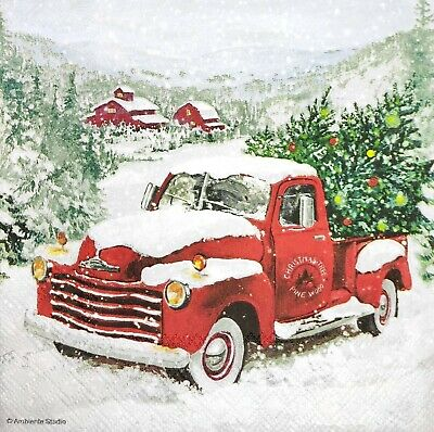 3 x Single Paper Napkins For Decoupage Craft Christmas Tree Red Santa Truck M992