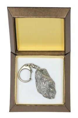Briard Keychain in a Box, Silver Plated Key Ring UK 2774