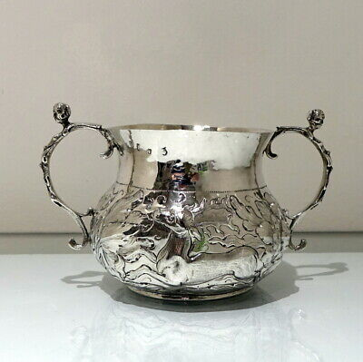 17th Century Antique Charles II Sterling Silver Large  Porringer London  1665