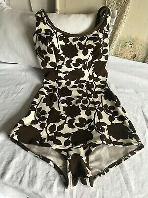 Vintage 1950's Swimsuit Brown Floral Print Size 38 - SLIX - Pin Up Beach Wear