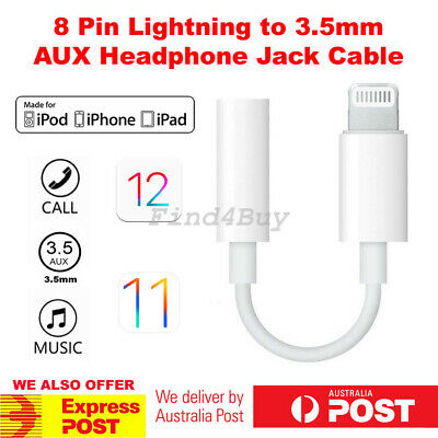 Lightning to 3.5mm Headphone Audio Jack AUX Adapter iPhone XS Max XR X 8 7 iOS12