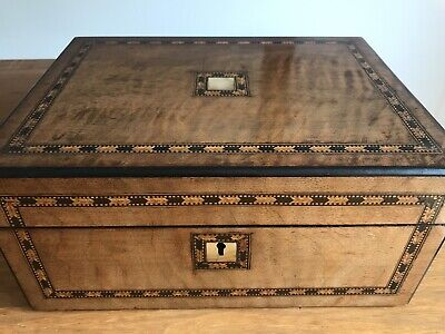 """Mid Victorian Walnut Work Box With Inlaid Decor C 1870 Mother Of Pearl 12"""" X 8.5"""
