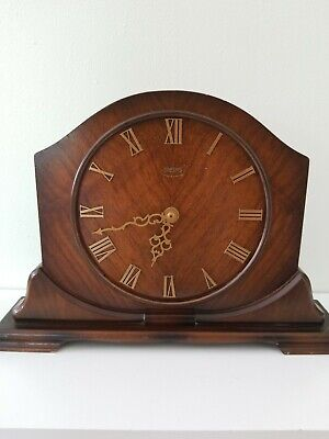 vintage art deco english dark oak SMITHS ENFIELD mantle  clock/