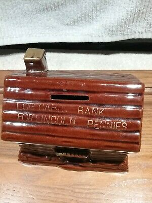 Vintage Ceramic Log Cabin Bank For Lincoln Pennies Pre-Owned