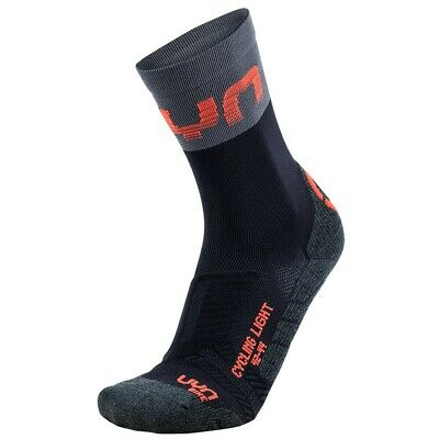 - UYN Cycling Light Calze Ciclismo Uomo, Black/Grey/Hibiscus