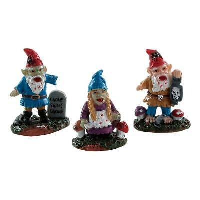 Lemax Spooky Town Zombie Garden Gnomes Set Of 3 #82568 Halloween Town New In Pkg