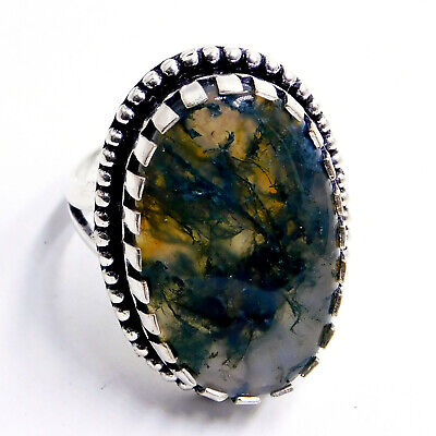 Huge Moss Agate 925 Sterling Silver Plated Handmade Jewelry Ring Us Size 8''