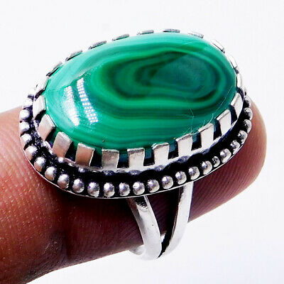 Natural Malachite 925 Sterling Silver Plated Handmade Jewelry Ring Us Size 8.5''