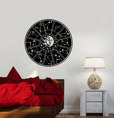 Vinyl Wall Decal Zodiac Horoscope Astrology Sun And Moon Face Stickers (3845ig)