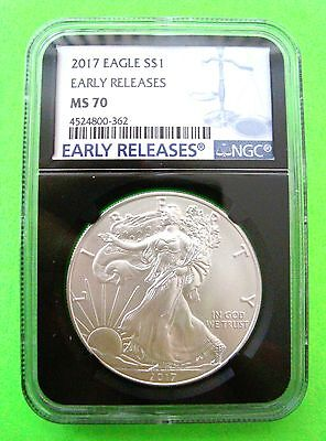 2017 AMERICAN SILVER EAGLE NGC MS70 EARLY RELEASES 1oz Coin - BLACK CORE - Mint