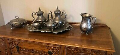 Antique Silverplate Coffee & Tea Set w Serving Tray
