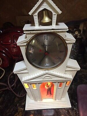 Vintage Electric Clock By Master Crafters. Lite Up Church/Bell Ringer Model #560