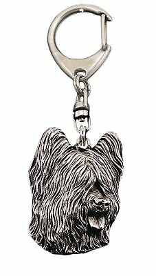 Briard Keyring Silver Plated, Solid Keychain, Key Ring with Dog UK 6
