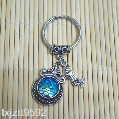LAKE BLUE Mermaid keychain, bagcharm zipper bag charm Fish scales party favors#