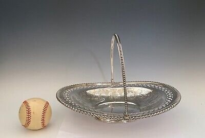 Vintage Silver Plate c.1900's  Bread Basket with Swing Handle