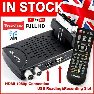 Freeview HD WiFi Mini Scart Receiver & HD Recorder DIGITAL TV Set Top Box Tuner
