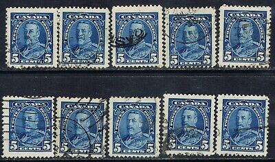 """Canada #221(3) 1935 5 cent blue KING GEORGE V """"PICTORIAL"""" 10 Used CV$5.00"""