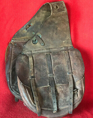 Antique WWI  1917 US Army McClellan Cavalry Leather Saddle Bags Saddlebags