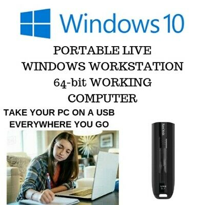 Portable Live PC Computer Windows Workstations Running 10 Pro 64-bit 3.1 USB