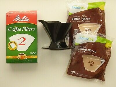 Melitta Single Cup Pour Over Brewing Cone with #2 Filters Open Box + New