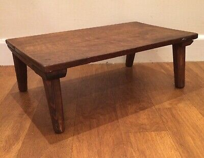 Small Rustic Vintage Wooden Foot Stool / Small Table Shabby Chic Country Style