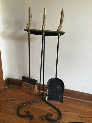 Antique Musical Note  Brass & Cast Iron Fireplace Tools  Chrome Plate Co. RARE!