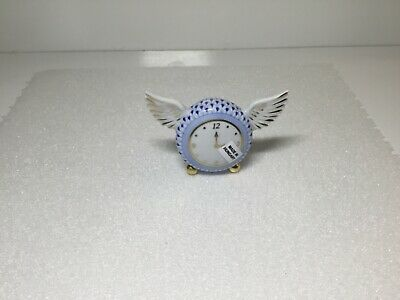 Herend Time Flies Clock with Wings Sapphire Blue Fishnet Figurine 16019