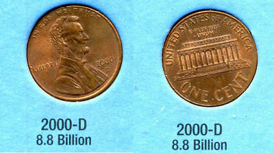 2000 D ABE Lincoln Memorial AMERICAN PENNY 1 CENT US U.S AMERICA ONE COIN #B1