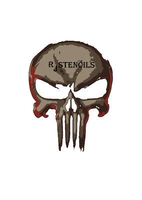 Multilayer STEP BY STEP airbrush stencil punisher