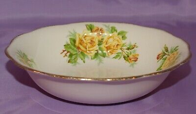 "Royal Albert English Bone China Yellow ""Tea Rose"" 9.5"" Round Vegetable Dish Bowl"
