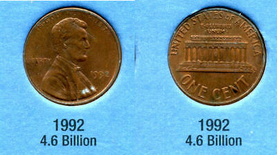 1992 P ABE Lincoln Memorial AMERICAN PENNY 1 CENT US U.S AMERICA ONE COIN #B1