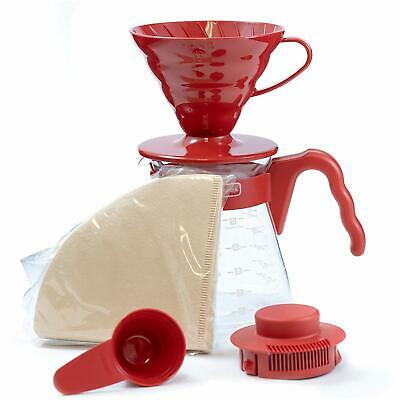 Hario V60 Size 02 Pour Over Starter Set with Dripper, Glass Server, Scoop and Fi