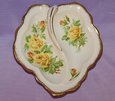"Royal Albert English Bone China Yellow ""Tea Rose"" Two Section Handled Candy Dish"