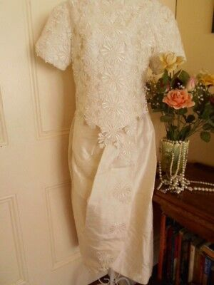 VINTAGE 1960's BRIDAL DRESS ( SKIRT & TOP) IVORY SHANTUNG STYLE FABRIC