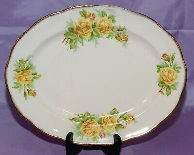"Royal Albert English Bone China Yellow ""Tea Rose"" Platter Dish 12.5"" x 10"""