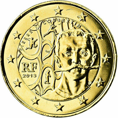 [#730716] France, 2 Euro, Baron Pierre Coubertin, 2013, gold-plated coin, SUP